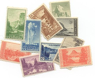 In 1934, a series of ten postage stamps were issued to commemorate the reorganization and expansion of the National Park Service. USPS National Park Service 1934.jpg