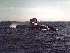 USS Albacore (AGSS-569) underway off Newport, Rhode Island (USA), on 11 March 1957 (80-G-K-22262).jpg