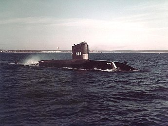 USS Albacore (AGSS-569) underway off Newport, Rhode Island (USA), on 11 March 1957 (80-G-K-22262)