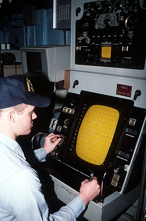 Aggressive-class minesweeper - Image: USS Conquest (MSO 488) mine detection sonar console