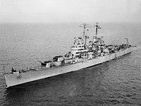 USS Denver (CL-58) underway, circa in December 1942 (19-N-39431).jpg