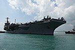 USS John C. Stennis arrives at Changi Naval Base in Singapore for a visit. (26522357055).jpg