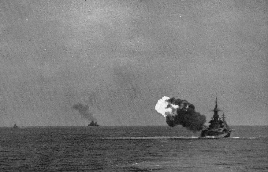 USS North Carolina (BB-55) firing broadside c1944