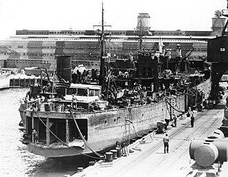 USS Oglala (CM-4) - USS Oglala after refloating, 1942.