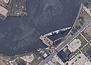 USS Orleck (DD-886) aground at Orange, Texas (USA), on 5 October 2005