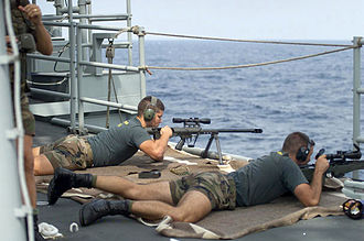 Barrett M95 - Spanish marine snipers covering a boarding party, 2002.