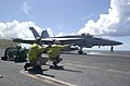 US Navy 030330-N-2385R-006 An F-A-18E Super Hornet assigned to the Top Hatters of Strike Fighter Squadron Fourteen (VFA-14) launches from one of four steam driven catapults on the flight deck of USS Nimitz (CVN 68).jpg