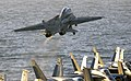 US Navy 040322-N-5319A-002 An F-14B Tomcat assigned to the Red Rippers of Fighter Squadron One One (VF-11) launches off the flight deck of USS George Washington (CVN 73) during evening flight operations.jpg