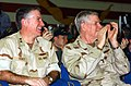 US Navy 041215-N-0382O-051 Rear Adm. Michael Tracy, left, sits with Chairman of the Joint Chiefs of Staff, Gen. Richard Myers, during a USO Show.jpg