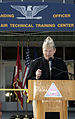 US Navy 050127-N-4204E-003 Commanding Officer of the Naval Air Technical Training Center (NATTC), Capt. Lloyd Callis, addresses the audience during a ribbon cutting ceremony officially re-opening Chevalier Hall on board Naval A.jpg