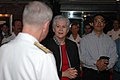 US Navy 070828-N-1205S-082 U.S. Ambassador to Singapore Patricia Herbold talks with Rear Adm. Terry Blake, commander of Carrier Strike Group 11, and guests during a reception aboard nuclear-powered aircraft carrier USS Nimitz (.jpg