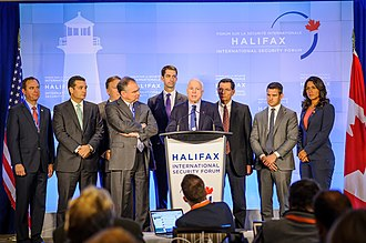 Halifax International Security Forum - Senator John McCain speaks during a press conference held by the US congressional delegation at HISF 2014