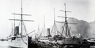 Percy Molteno - Union-Castle liners in Cape Town harbour. Early 1900s.