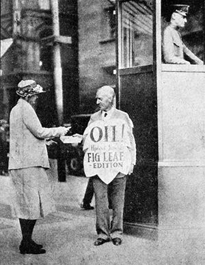 "Oil! - Upton Sinclair selling the ""Fig Leaf Edition"" of Oil! in Boston"