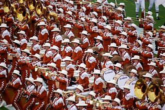 The University of Texas Longhorn Band - The Longhorn Band on the field at a football game vs Baylor in 2006