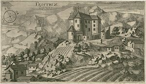Ilirska Bistrica - Bistrica Castle as documented by Johann Weikhard von Valvasor, 1679