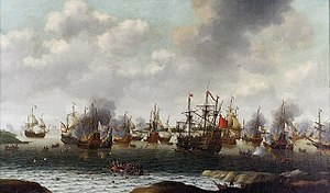 Anglo-Dutch Wars - Dutch attack on the Medway during the Second Anglo-Dutch War by Pieter Cornelisz van Soest c. 1667. The captured English ship ''Royal Charles'' is right of center.