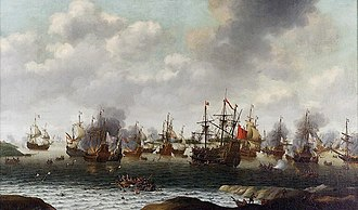 Samuel Pepys - Dutch Attack on the Medway, June 1667 by Pieter Cornelisz van Soest, painted c. 1667. The captured ship Royal Charles is right of centre.