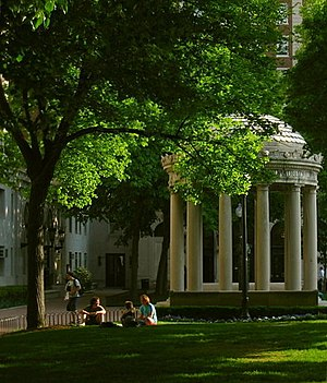 Columbia College, Columbia University - Van Amringe Quadrangle houses a memorial to John Howard Van Amringe, who served as the College's first dean after the formation of Columbia University