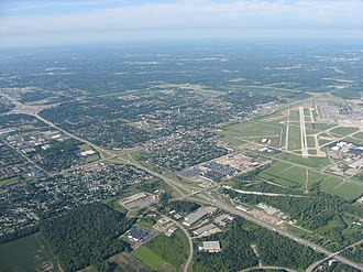 Vandalia, Ohio - Aerial view of Vandalia, with the Dayton International Airport to the north