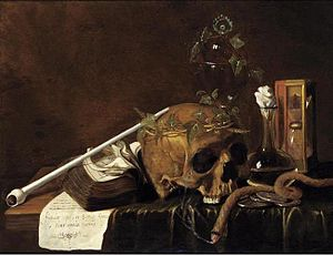 Pieter van der Willigen - Still Life with skull, book, pipe, caraf, and hour-glass.