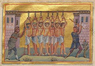 October 19 (Eastern Orthodox liturgics) - Image: Varus, and with him six monk martyrs (Menologion of Basil II)