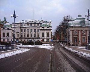 Riddarhusgränd - Riddarhusgränd viewed from Vasabron in February 2007.