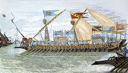 Painted-in engraving of a medieval galley with flags flying and firing a catapult