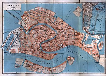 English: Venice: Italy: 1913 map of city center