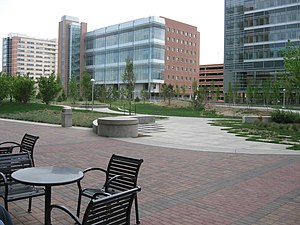 Anschutz Medical Campus - A view of the Anschutz Medical Campus; the University of Colorado Hospital can be seen near the top left corner