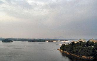 Five Bridges of Amakusa - View of Amakusa islands, showing the Matsushima Bridge, connecting to Maeshima island.