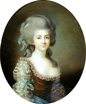 Antoinette Saint-Huberty - Pastel portrait of Mme. Saint-Huberty by Louise Élisabeth Vigée Le Brun, c.1780. (Private collection; formerly in the museum of Saint-Germain-en-Laye.)