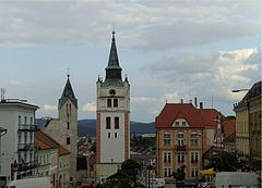Vimperk square, church, gothic belfry.jpg