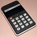 Vintage Casio Personal M-1 Electronic Pocket Calculator, aka H-813B, Made In Japan, VFD, Circa 1978 - 1981 (15805562590).jpg
