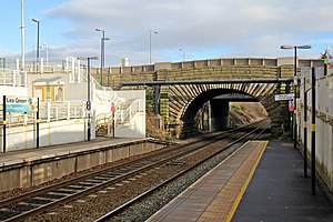 Lea Green railway station - Image: Vintage bridge, Lea Green railway station (geograph 3818908)