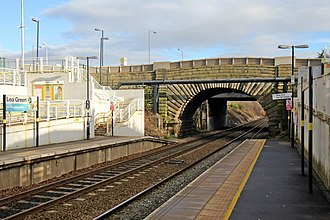 Lea Green railway station - Image: Vintage bridge, Lea Green railway station (geograph 3818908)