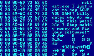 Computer virus - Hex dump of the Blaster worm, showing a message left for Microsoft co-founder Bill Gates by the worm's programmer
