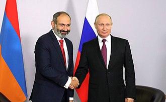 Armenia–Russia relations - Armenian Prime Minister Nikol Pashinyan and Russian President Vladimir Putin in Sochi, Russia.