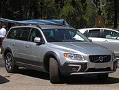 Front passenger side view of silver XC70