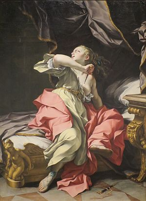 Ludovico Mazzanti - Mazzanti's The Death of Lucretia (ca. 1730), oil on canvas
