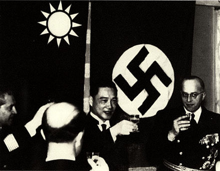 Wang Jingwei with ambassador Heinrich Georg Stahmer at the German embassy in 1941 Wang and Nazis.jpg