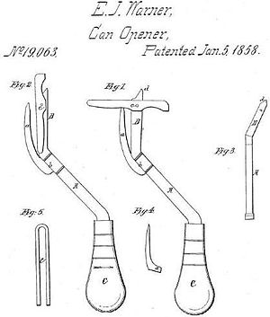 Can opener - Lever-type can opener design of 1858 by Ezra Warner