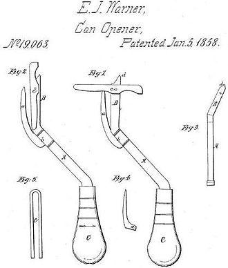 Can opener - Lever-type can opener design of 1858 by Ezra Warner