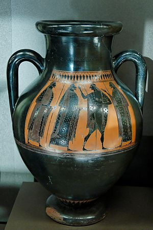 Affecter - Warrior's departure, neck-amphora by the Affecter, dated 540–530 BCE, located in the Louvre Museum