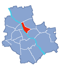 Location of Praga-North within Warsaw
