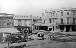 King William Street, Adelaide - Image: Waterhouse Chambers (1847) opp. Beehive Corner, Cnr King William & Rundle Streets, 1866