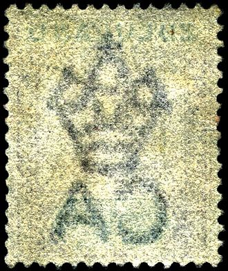 Watermark - The Crown CA watermark found on many British Commonwealth stamps. (seen from the reverse)