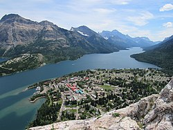 View from above of Waterton Park
