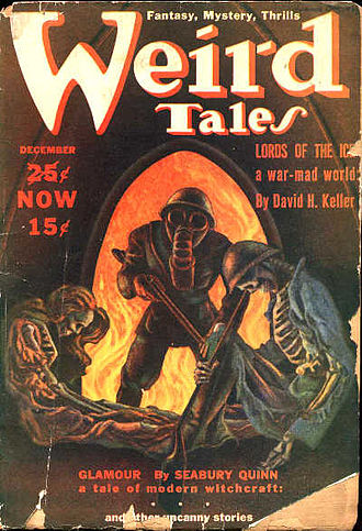 """David H. Keller - Keller's """"Lords of the Ice"""" was the cover story in the December 1939 Weird Tales, illustrated by Hannes Bok"""