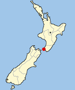 Location of Wellington within New Zealand
